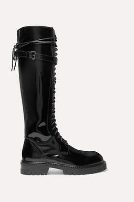 Ann Demeulemeester Lace-up Glossed-leather Knee Boots - Black