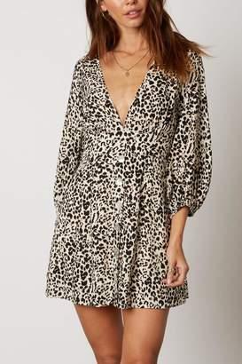 Cotton Candy Leopard Plunging Mini-Dress