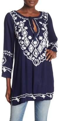 BOHO ME 3\u002F4 Length Sleeve Embroidery Tunic