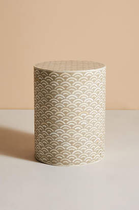 Anthropologie Scalloped Inlay Drum Side Table