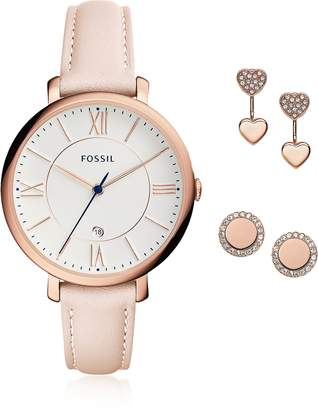Fossil Jacqueline Blush Women's Watch and Jewelry Box Set
