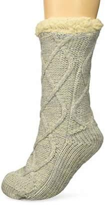 Dearfoams Women's Cable Knit Blizzard Sock Slipper