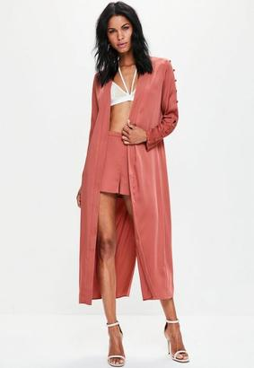 Missguided Pink Button Sleeve Split Back Duster Jacket