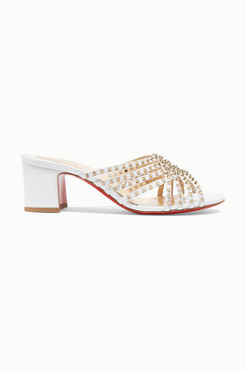 Christian Louboutin Marthaspike 55 Leather Mules - White