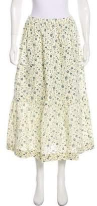 eskandar Floral Print Midi Skirt