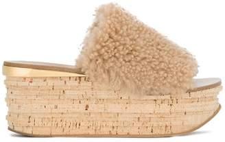 Chloé Nude Camille 75 Shearling flatform slides