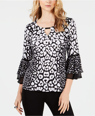 JM Collection Petite Animal-Print Bell-Sleeve Top