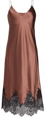 Lake Studio Sleeveless Silk Slip Dress With Lace Trim