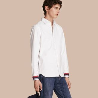 Burberry Oxford Cotton Shirt with Regimental Cuff Detail $295 thestylecure.com