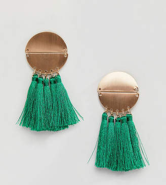 Reclaimed Vintage Inspired Green Tassle Earrings