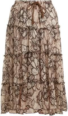 See by Chloe Snakeskin-print chiffon skirt