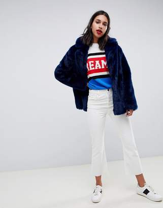 Asos Design DESIGN faux fur coat with collar detail
