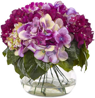Nearly Natural Dark Pink Multi-Tone Beauty Hydrangea Artificial Arrangement with Round Glass Vase