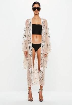 Missguided Nude Embellished Kimono Jacket