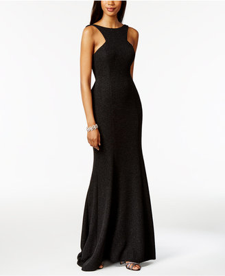 Xscape Metallic Open-Back Ruffled Halter Gown $269 thestylecure.com