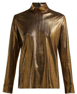 Bella Freud Kempner High Neck Stretch Lame Top - Womens - Gold