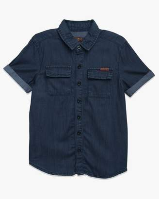 7 For All Mankind Boys 4-7 Short Sleeve Shirt in Textured Indigo