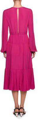 No.21 No. 21 Long-Sleeve Pleated Midi Dress