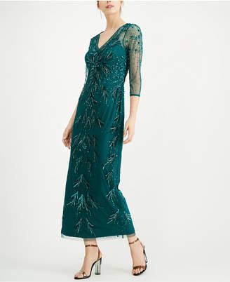 Adrianna Papell Petite Beaded Mesh Dress
