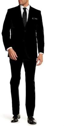 Perry Ellis Blue Plaid Two Button Notch Lapel Slim Fit Suit
