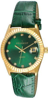 Peugeot Women's Gold Tone Coin Edge Bezel Crystal Marker Green Leather Stap Watch
