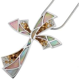 "Mother of Pearl Oliver Weber Life Collection 7546 Brown Ladies Pendant 925 Sterling Silver Swarovski Crystal and + 18.5"" Chain"