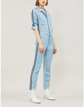 7bbc8a6234e6 Mother The Zip Riveter striped-panel stretch-denim jumpsuit