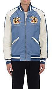 Schott NYC Perfecto Brand by PERFECTO BRAND BY MEN'S USS LEXINGTON COMMEMORATIVE FLIGHT JACKET - BLUE SIZE L