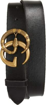 Gucci GG Marmont Snake Buckle Leather Belt