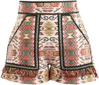 TALITHA Aztec-jacquard cotton-blend shorts