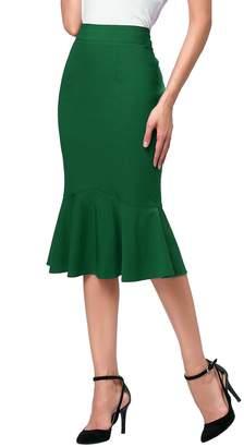 Kain Label Kate Kasin Women's Elegant High Waist Party Work Fishtail Hem Plain K241-4