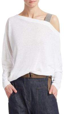 Brunello Cucinelli Asymmetric Gauze Top