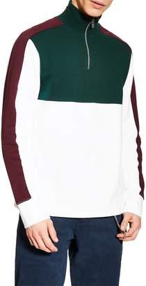 Topman Colorblock Quarter Zip Pullover