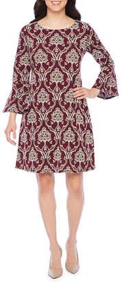 Ronni Nicole 3/4 Bell Sleeve Scroll Puff Print Shift Dress