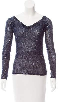 Donna Karan Long Sleeve Sequined Top