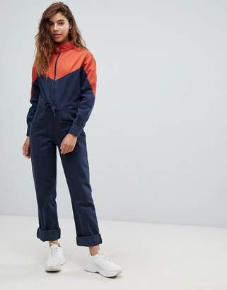 Asos Design DESIGN denim boilersuit in color block