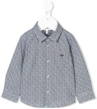 Emporio Armani Kids embroidered checked shirt