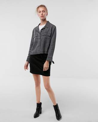 Express Cropped Soft Twill Military Shacket