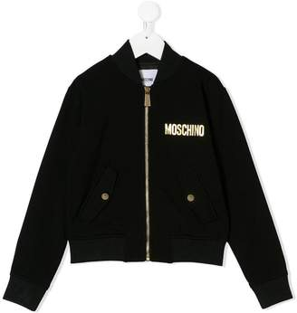 Moschino Kids TEEN sequin embroidery bomber jacket