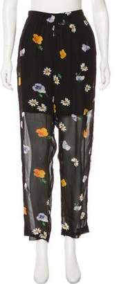 Ganni Floral Print Semi-Sheer Pants