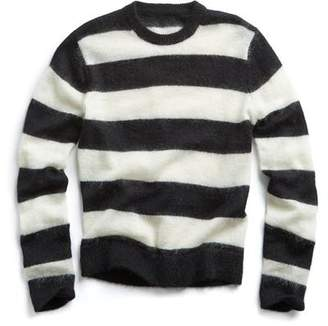 Todd Snyder Italian Brushed Wool Rugby Striped Sweater in Charcoal/White