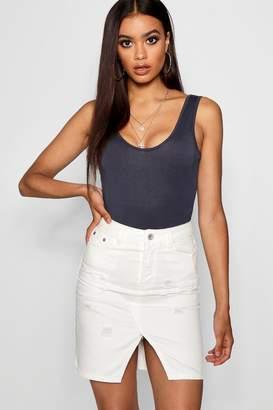 boohoo White Denim Mini Skirt