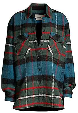 we11done Women's English Check Oversized Wool Shirt