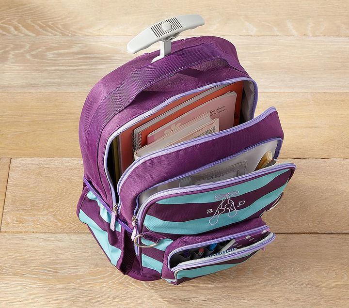 Pottery Barn Kids Fairfax AquaWhite Stripe Backpacks