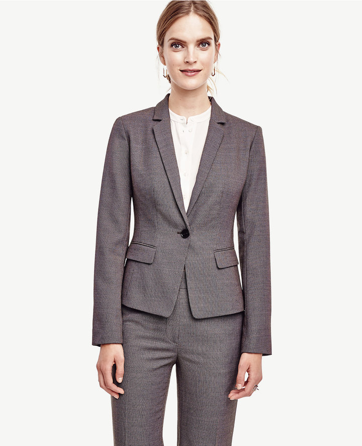 Ann TaylorBirdseye Tropical Wool One Button Jacket