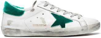 Golden Goose White green Superstar velvet sneakers