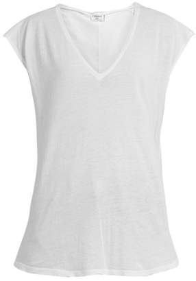 Frame V Neck Cotton Jersey T Shirt - Womens - White