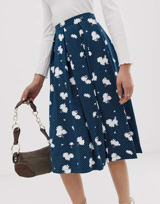 f7444f12e3181 Asos Design DESIGN midi skirt with box pleats in navy floral print