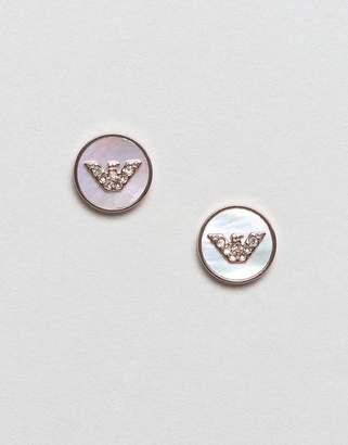 Emporio Armani Rose Gold l Logo Stud Earrings