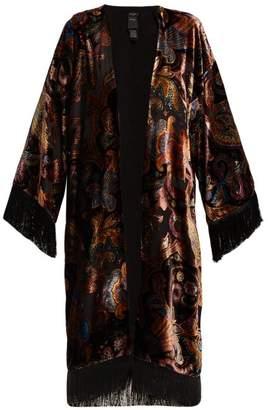 Etro Fringed Paisley Velvet Kimono - Womens - Black